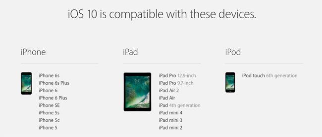 iOS10が利用できる端末
