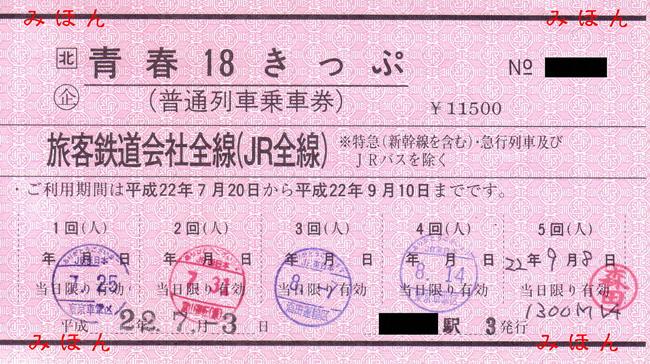 赤い地紋の青春18きっぷ