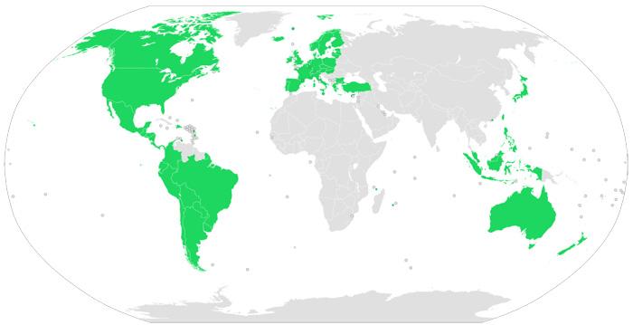 Spotifyのサービスの対象国