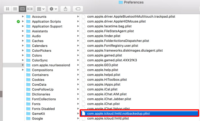 com.apple.icloud.fmfd.notbackedup.plist を削除