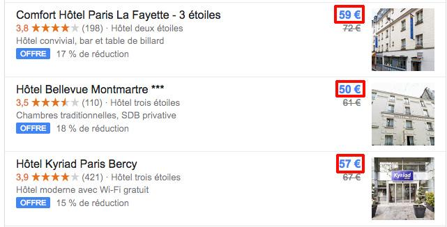 フランスのホテルを検索して、ユーロで宿泊料金を見たい場合