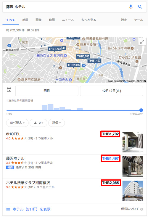 タイに長期滞在している方が、一時帰国で日本に帰るので、日本のホテルをGogole検索した場合