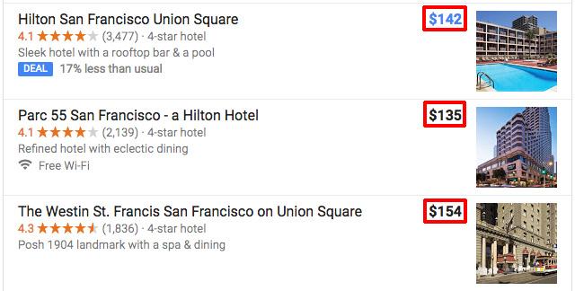 アメリカのホテル検索して、ドルで宿泊料金を見たい場合