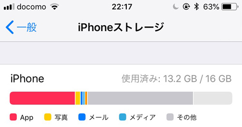 16GBのiPhone 容量不足