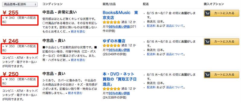 Amazonマーケットプレイスで「1円の古本」と「257円の送料」の組み合わせが、なくなった