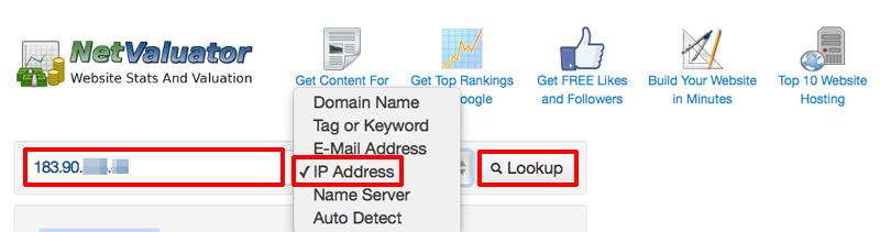 「NetValuator」で同じIPアドレスのサイトを調べる