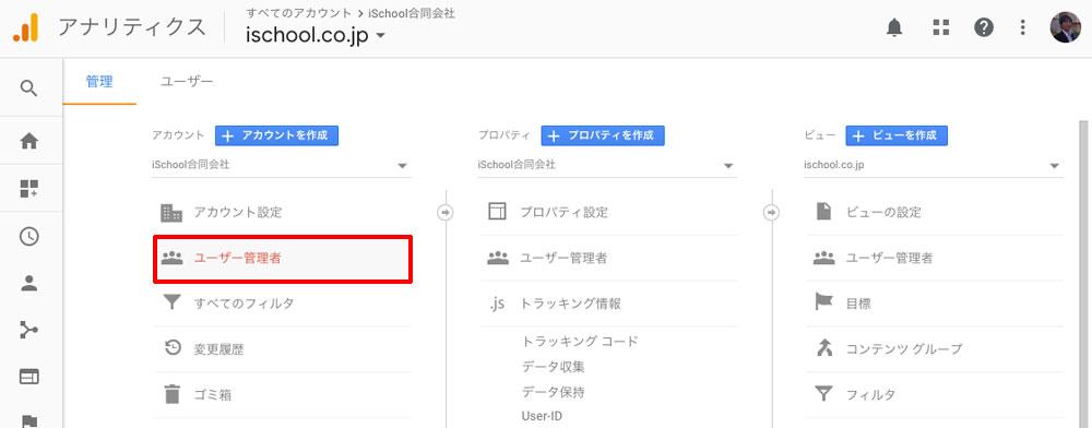 Google アナリティクスの設定を開き、アカウントにある「ユーザー管理者」をクリック