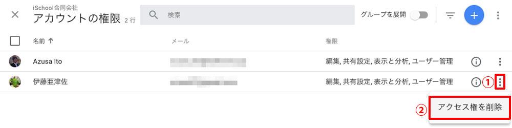 削除したいアカウントの右をクリックして「アクセス権を削除」をクリック