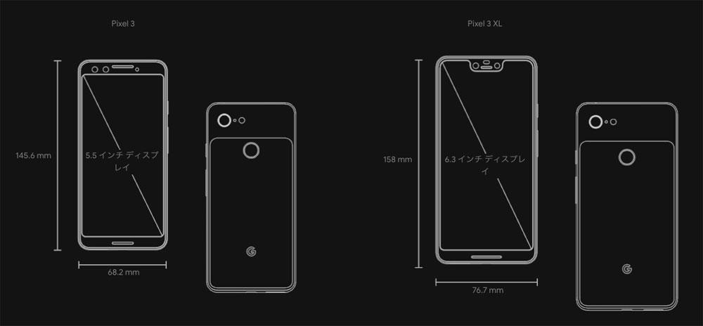 Pixel 3/Pixel 3 XLの比較