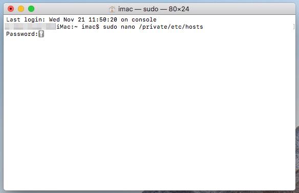 ターミナルで、macOSのログインパスワードを入力