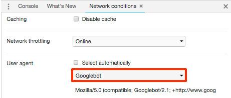 GooglebotのUAに変更