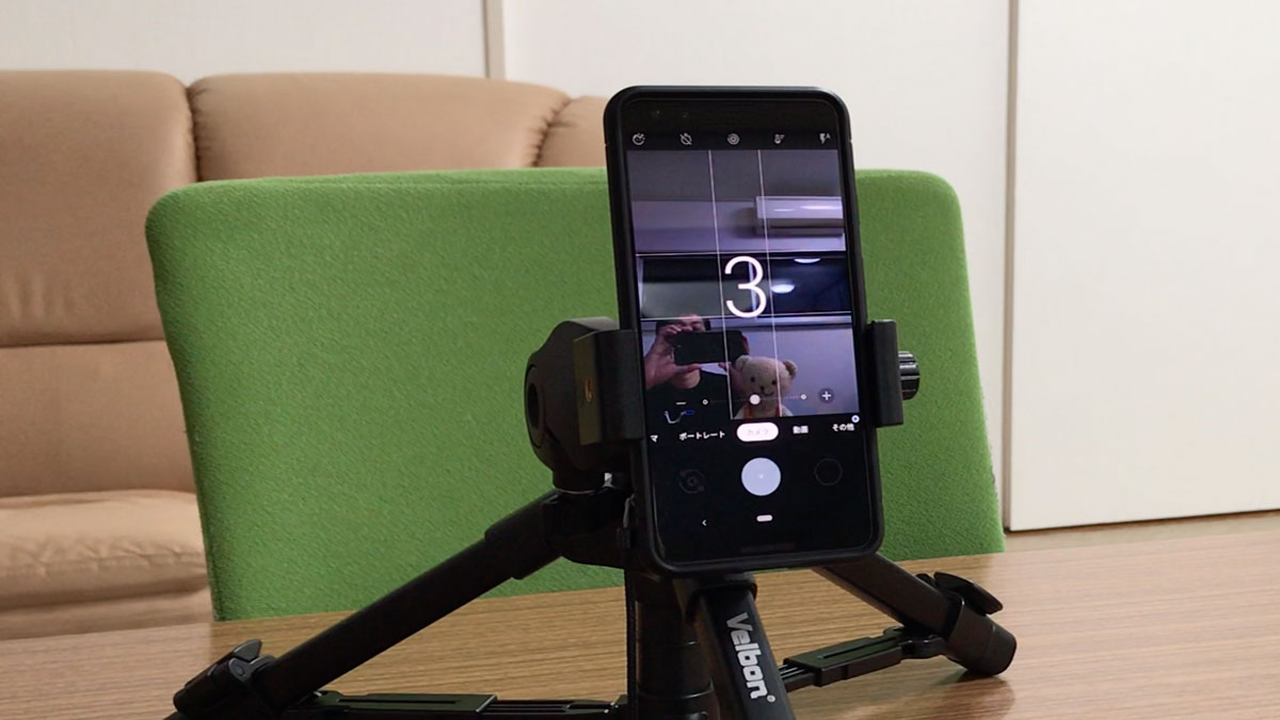 「OK Google 自撮り写真撮って」と話しかけると、インカメラで自撮りが撮影できる