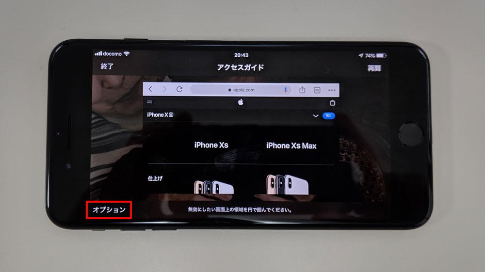 「アクセスガイド」をタップすると、左下に「オプション」が表示するのでタップ