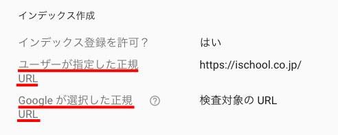 「カバレッジ」をクリックすると、インデックスされた正規URLが表示される