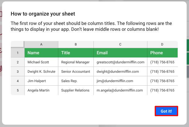 「How to organize your sheet」と表示されるので「Got it!」をクリック