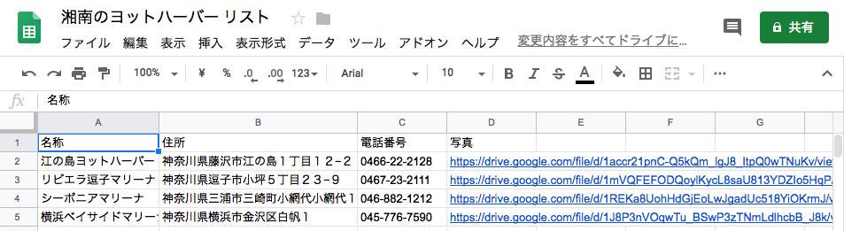 Googleスプレッドシートで「湘南のヨットハーバー リスト」を作る