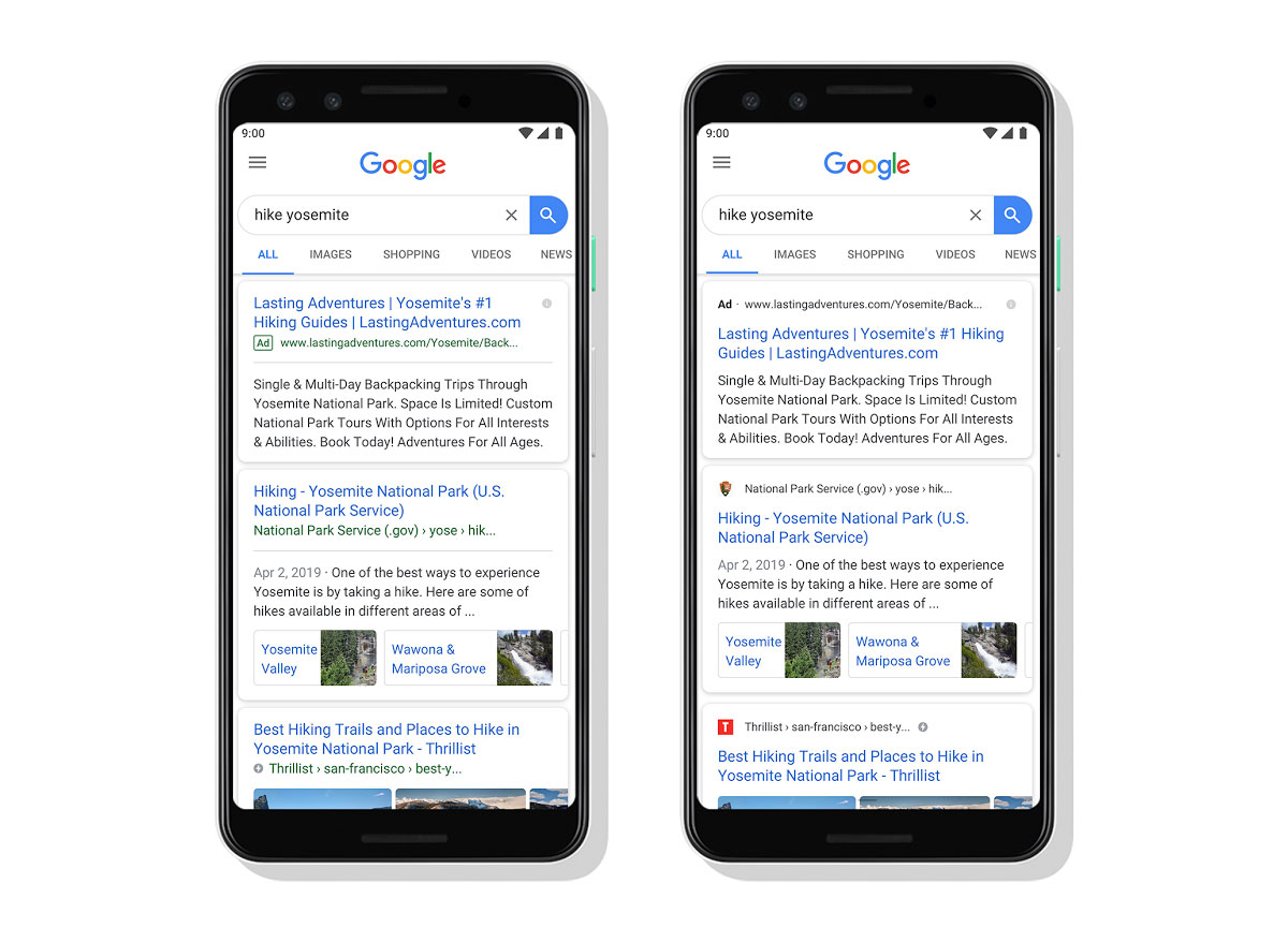 Googleモバイル検索結果のデザインが変わり、ファビコンとサイト名が表示される