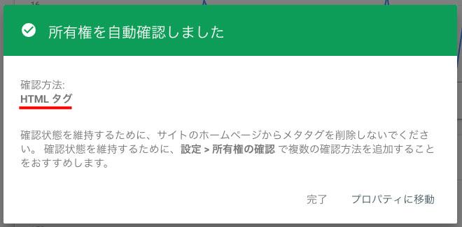 Search Consoleにアクセスすると、「所有権を自動確認しました」と表示されプロパティが追加される