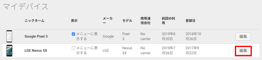 「Google Play のマイデバイス」、「編集」をクリック