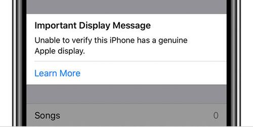 正規のApple製ディスプレイを確認できないと通知