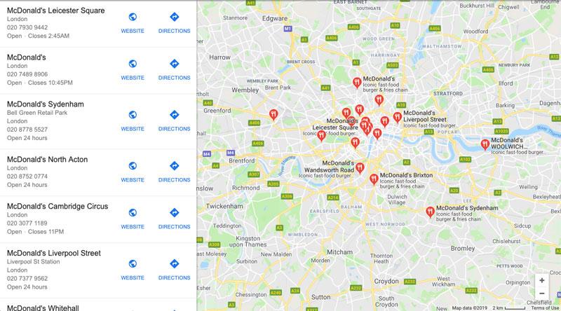 Googleマイビジネス、イギリスのチェーン店のビジネス名