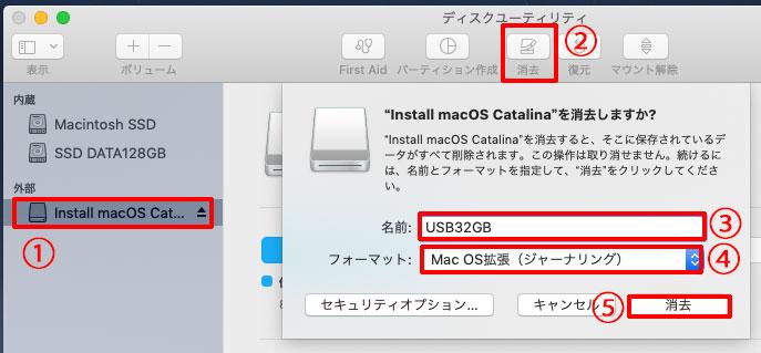 USBメモリにシンプルな名前をつけて、Mac OS 拡張でフォーマット
