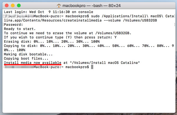 「Install media now available〜」と表示されたら、インストール用USBメモリが完成