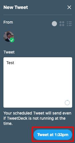 TweetDeck、予約投稿は完了