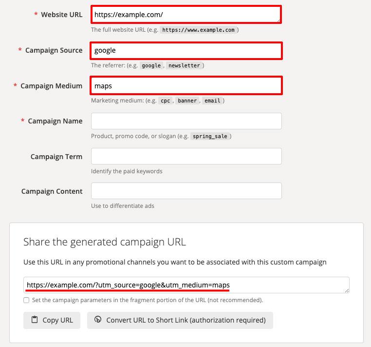 Googleマイビジネス、パラメータ、Campaign URL Builder