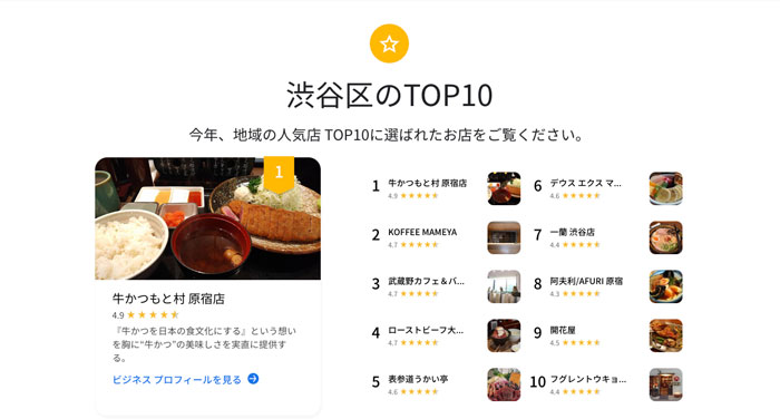 Local Favorites、TOP10が表示される