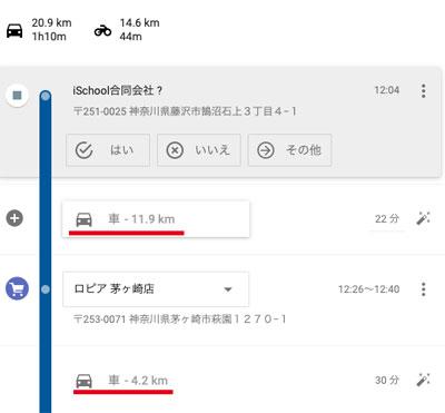 Googleマップのタイムライン、移動手段のデータ