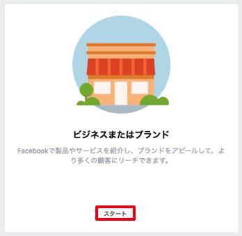 Facebook for Business、「ビジネスまたはブランド」をクリック