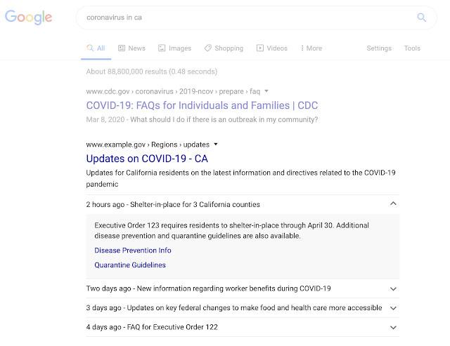 COVID-19に関するお知らせがリッチリザルトで表示