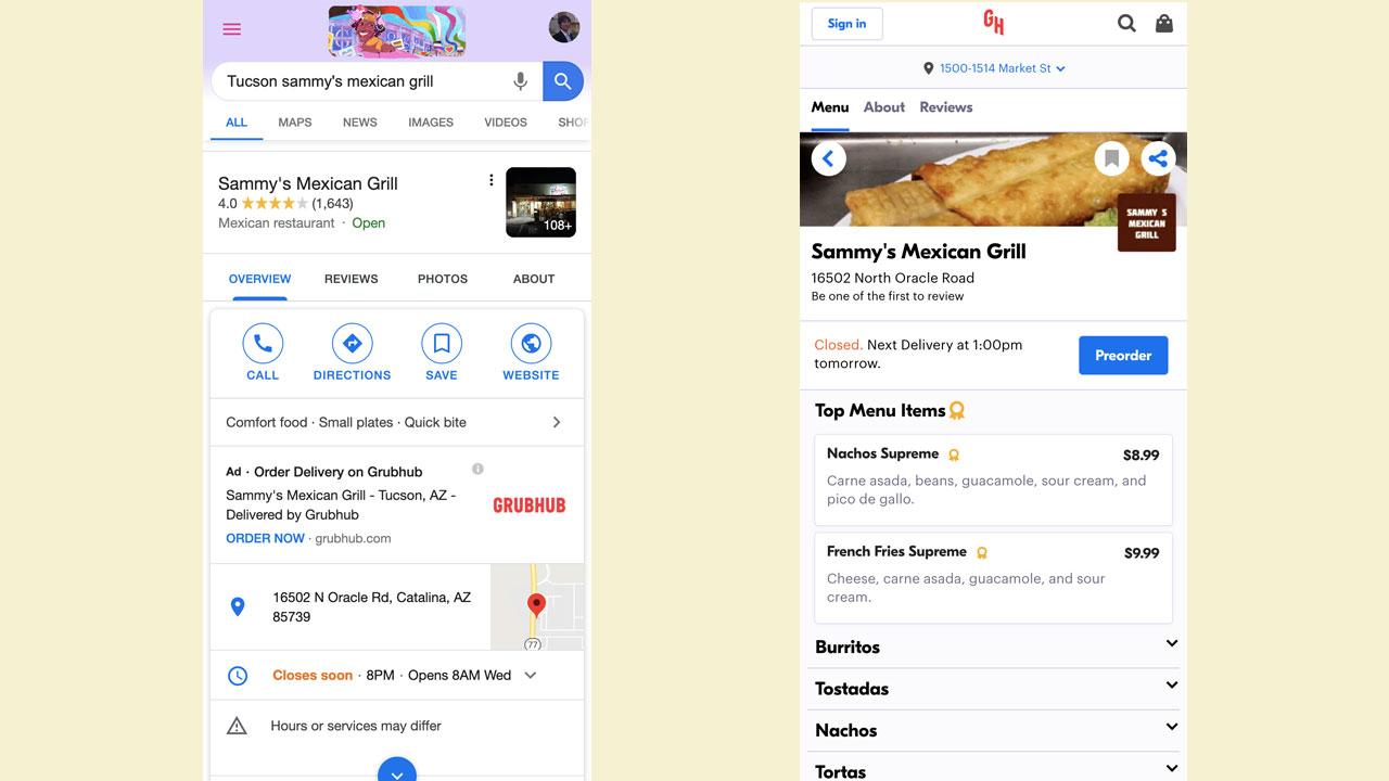 米Googleマイビジネス、飲食店のナレッジパネルにフードデリバリー企業の広告が表示される