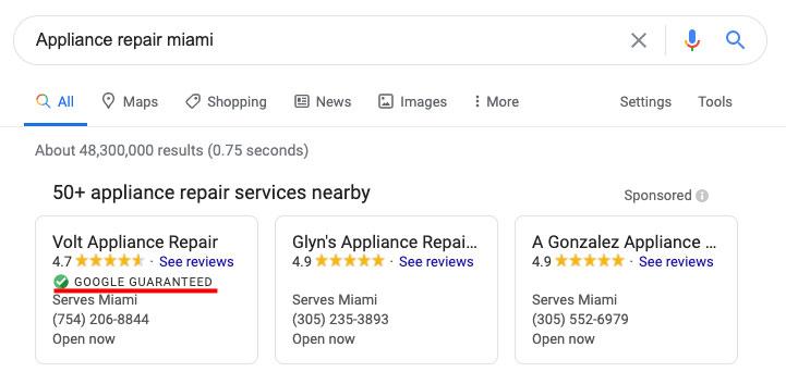 Google Guaranteed バッジを表示するには、ローカルサービス広告の資格が必要だった
